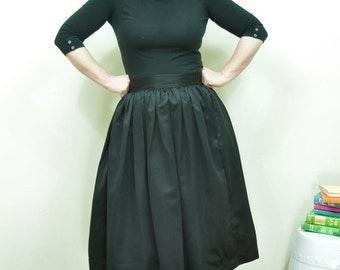 Black Midi Skirt Full gathered Satin skirt Custom made also in plus size