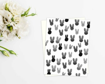 Black & White Bunnies - Chic Easter Card - Spring - Rabbits - Design - Graphic Print - Pattern