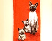 "Pure Linen Ulster Vintage ""Siamese Cat""  Dish Towel with Bonus!"