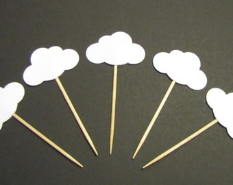 24 White Cloud Party Picks, Cupcake Toppers Party Picks, Food Picks