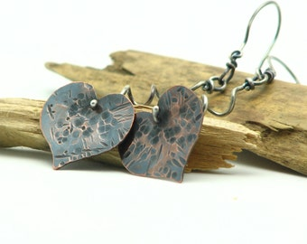 Heart Dangle Earrings Metal Work Jewelry Hammered Copper Sterling Silver Mixed Metal Earrings Valentines Day