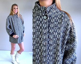 vtg 80s black+white HERRINGBONE slouchy COCOON COAT colorful os cape wool outerwear avant garde