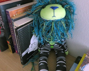 Teal Lime Steel Stuffed Sock Lion