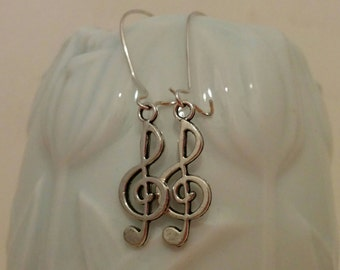 Treble earrings, music earrings, musical earrings, music jewelry, music pendant, treble jewelry, musician gift, sterling silver treble