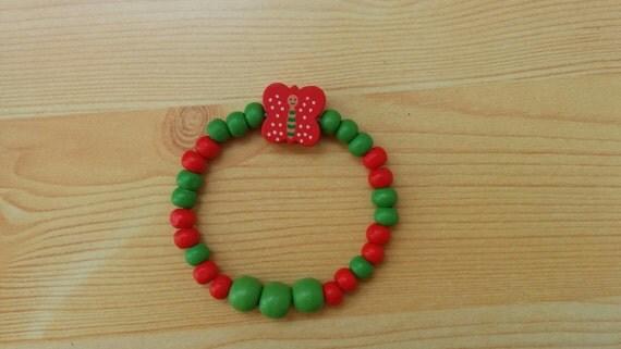 Girl bracelet, children bracelet, kids bracelet,butterfly bracelet,wood bracelet,beaded bracelet,kids jewelry,girl jewelry,wooden bracelet