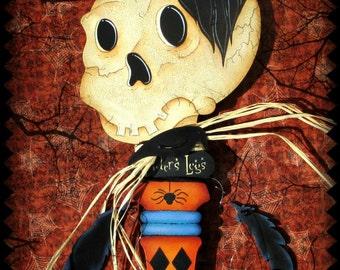 E Pattern - Spooky Raven Halloween Key - LARGE - Raven & Skull, Bones/Feathers - Fun design by Sharon Bond - FAAP