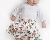 Woodland Animal Skirt Baby Girl- Organic Cotton - Baby Knit Skirt Deer, Hedgehog, Raccoon, Mushroom Foldover Waist 0 3 6 9 12 18 months