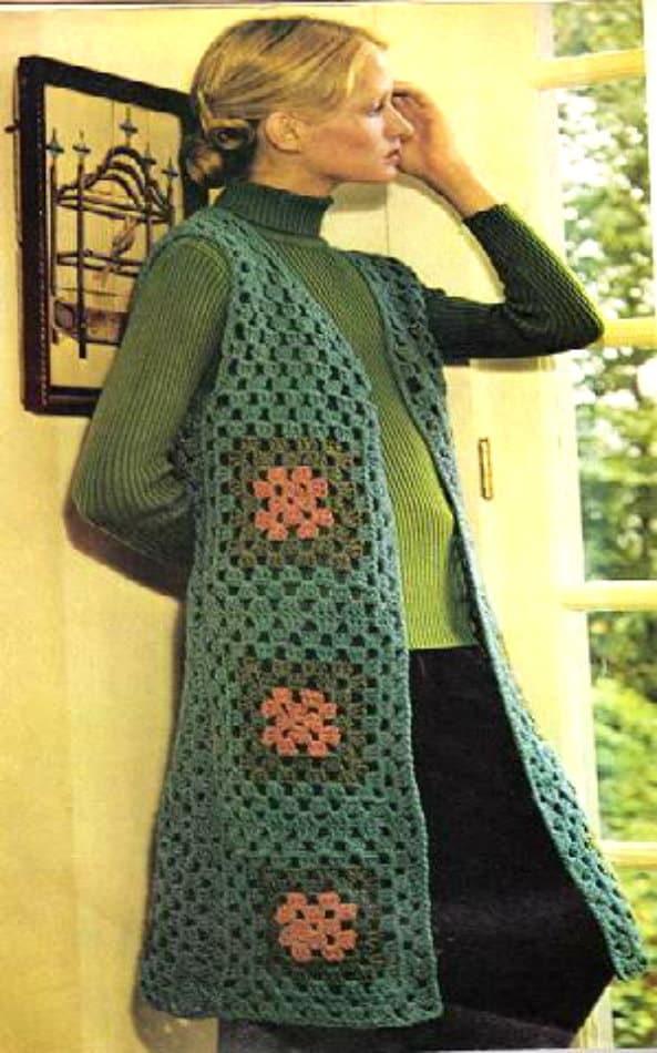 Long Tailored Vest Vintage Crochet PDF Pattern by ...