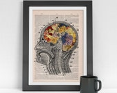 A4 size Art Print Flowery Brain collage Printed on Vintage Dictionary Book page. Wall decor art, Anatomy decor, Flower print art BPSK053
