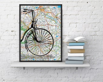 Old bike detail on Original France Roads Map Vintage Print, Art Print map Bike art  Print on Vintage map, Wall art map TVH001
