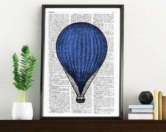Blue Balloon Vintage Book Print Dictionary or Encyclopedia Page Print- Book print  Print on Vintage Book art TVH078