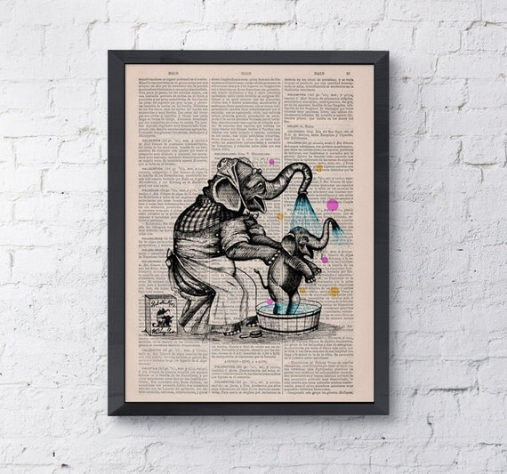 Summer Sale Nursery wall art bedroom decor Baby Elephant taking a bathlove collage dictionary book page   home decor art ANI105