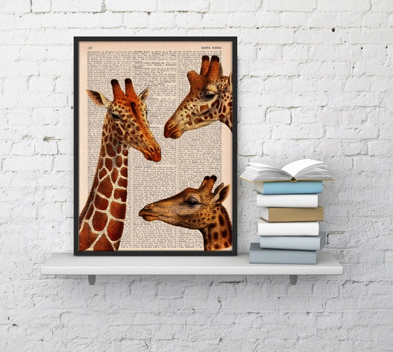 BOGO Sale Giraffes meeting  Dictionary Book Print  Altered art on upcycled book pages ANI010