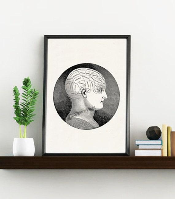 Vintage Art Print Brain Phrenology study - Science prints wall art on white paper- Anatomy prints wall decor SKA126WA4