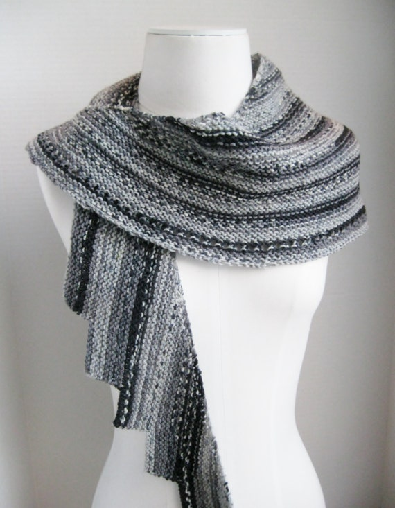 Spiral staircase shawl scarf grey black white hand knit wool