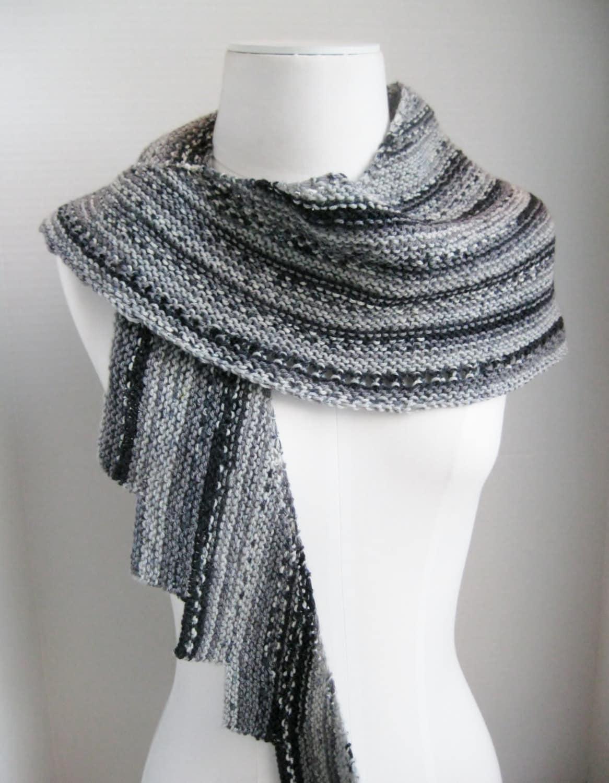 Knit Spiral Scarf Pattern : Spiral staircase shawl scarf grey black white hand knit wool