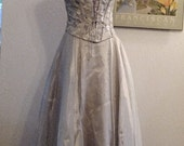 Romantic Vintage Style Silver Corset Wedding, Prom, Formal Gown