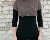 Sale 50% Brown Cropped Sweater, Cropped Chunky Sweater, Womens Cropped Sweater, Crop Top, Sweater Shrug,