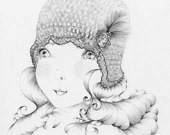 Flapper Girl OOAK Pencil Drawing & Illustration Black and White Minimalist Fine Art Flapper Girl Drawing Girls Room Gift for Her