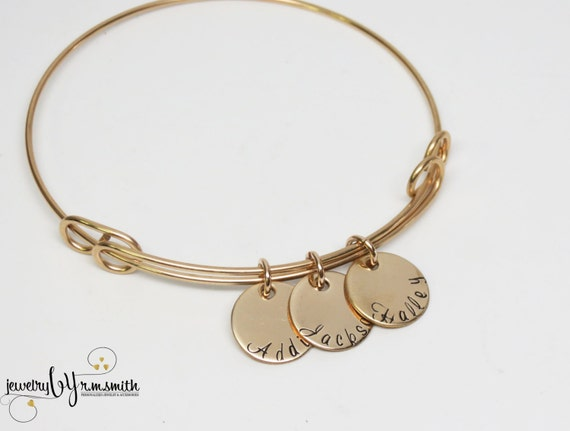 Gold Name Bracelet Personalized Bangle Kids Names