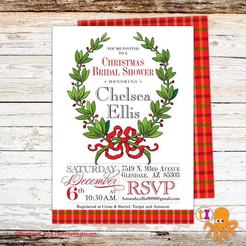christmas bridal shower invitation with wreath. Black Bedroom Furniture Sets. Home Design Ideas
