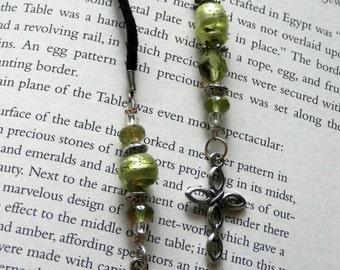 Love of the Cross Peridot Foil Glass Beaded BookMark