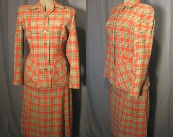 1940s Vintage Women's Plaid Wool Tweed Suit by Edward Reed, LTD - In Orange, Gray, Green & white Fully Lined in Rayon Jacket - A Line Skirt