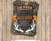Camo baby shower Boy deer Hunting  PRINTABLE Invitation 5x7  camouflage orange realtree chalkboard