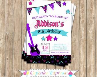 Rockstar Girl Birthday DIY PRINTABLE Invitation  pink black purple teal guitar rock star  invitation music 10