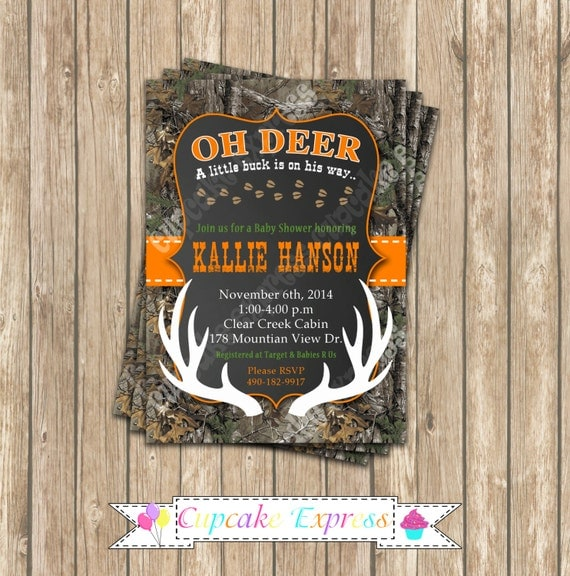 camo baby shower boy deer hunting printable invitation 5x7 camouflage