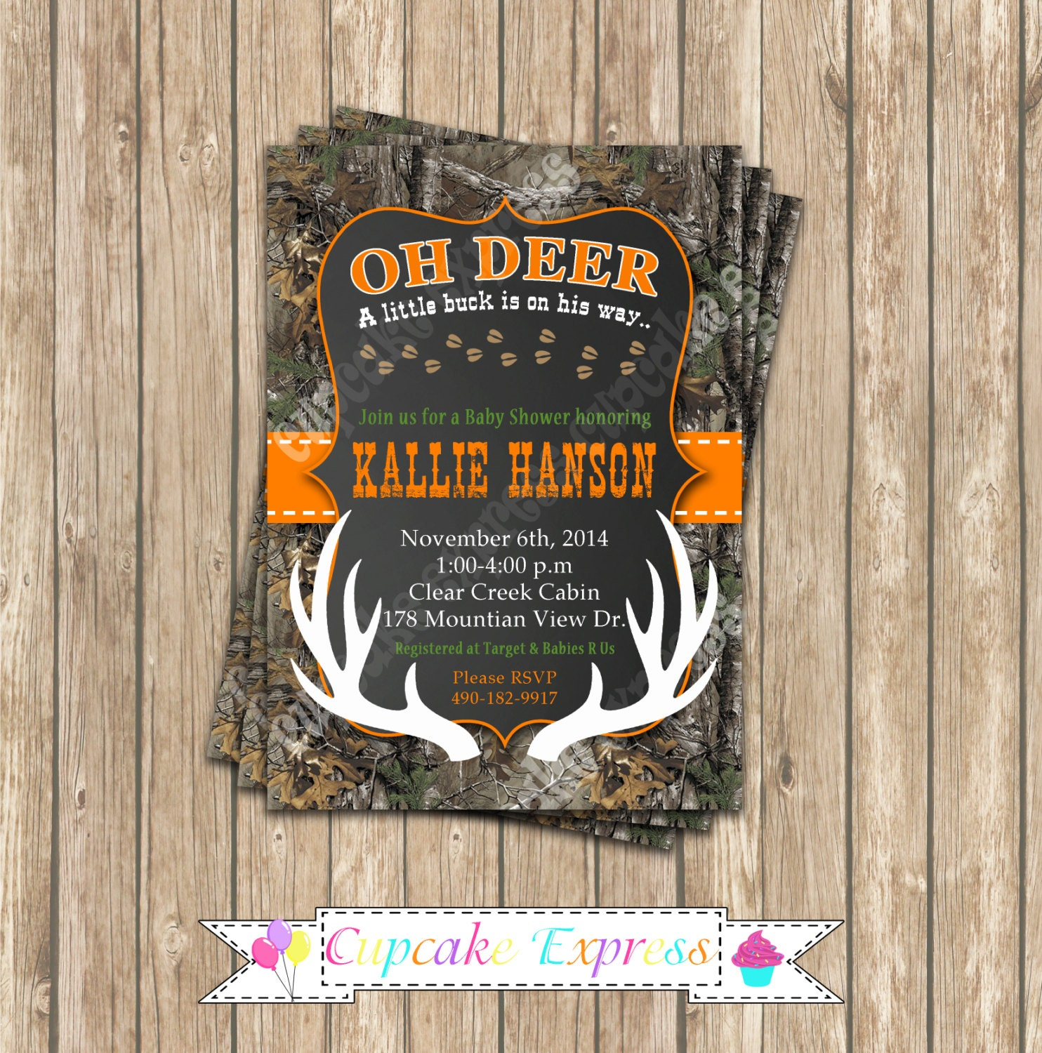 camo baby shower boy deer hunting printable invitation 5x7