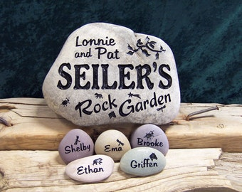 Engraved ROCK GARDEN with 5 Name Stones