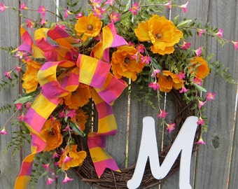 Spring Wreath with Poppies, Orange and Pink
