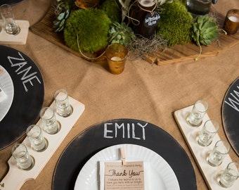 Set of 2 Wooden Chalkboard Placemat Chargers - Distressed Round - Entertaining