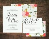 Printable Mint Green Wedding Invitation Suite | Wedding Invitation Set, Floral Wedding, Green Wedding, Pink, Flower