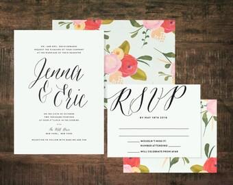 Printable Mint Green Wedding Invitation Suite   Wedding Invitation Set, Floral Wedding, Green Wedding, Pink, Flower