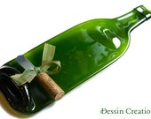 Wine Bottle Spoonrest,  Cheese Tray, Eco Friendly Barware, Hostess Gift,  Dessin Creations