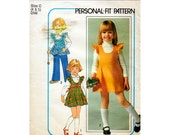 1970s Girl's Jumper Dress or Top and Pants Pattern Simplicity 7632 Child's Vintage Sewing Pattern Scoop Neck Flared Dress Size 4 and 5