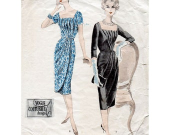 1950s Draped Cocktail Dress Pattern Vogue Couturier Design 188 Vintage Sewing Pattern Bust 42 Stunning Evening Dress Plus Size RARE