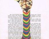 Giraffe with Vintage Sweater: digital giraffe print Wall Art Wall Decor, vintage giraffe art print gift for men him digital painting