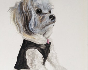 Custom dog portrait painting watercolor painting original from photo 8.5x12x1.5