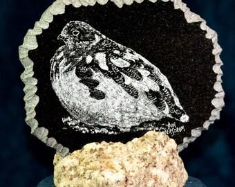 Ptarmigan hand etched on black granite tile