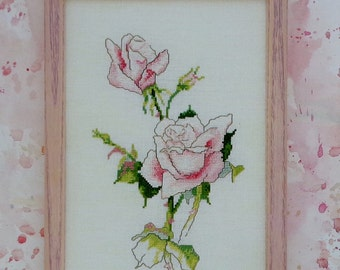 Counted Cross Stitch Pattern ROSES II 2 FLOWERS Based On Original Watercolor Painting By Janet Powers Green Apple Co.