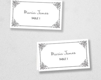 Avery Place Card Template - INSTANT DOWNLOAD - Escort Card - For Word and Pages - Mac and PC - Flat or Folded - Flourish Frame