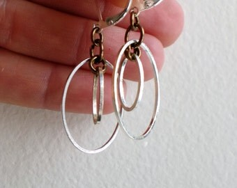 Sterling silver and antiqued bronze oval hoop earrings