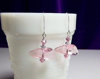 Swarovski Pink Lilac Crystal Drop Earrings, Mothers Day Gift, ONLY ONE, Mom Sister Girlfriend Bridesmaid Jewelry, Simple, Pretty