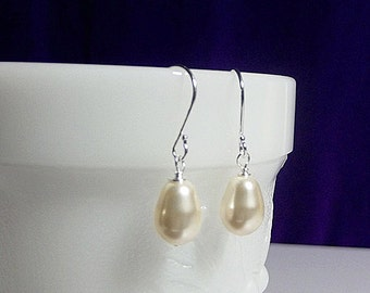 SET 5 Pairs Swarovski Cream Pearl Teardrop Earrings Tear Drop Wedding Bridesmaid Maid of Honor Jewelry Gifts Favors Cocktail Christmas Creme