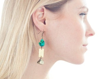 "Hammered Brass w/ Turquoise and Pyrite Stone Earrings - ""Amanda"""