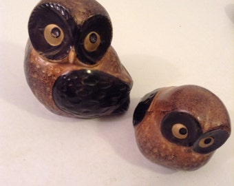 70's Vintage pair OWLS. Mod, pop, Mid century Kitsch, Eames Panton era.  Ceramic, Porcelain.  Made in Japan.