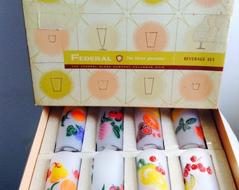 8 Frosted Fruit Glasses by Federal in BOX. Tall Vintage Drinking Tumblers.  Hollywood Regency,  Mid century modern, Eames era. Deco 1950's.